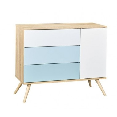 Commode Sauthon, 1 Porte 3 tiroirs Seventies version bleu