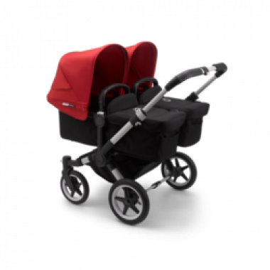 Nouvelle Poussette Double Bugaboo Donkey3 Twin Rouge châssis Alu