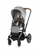 Nouvelle Poussette Priam Cybex Collection Koi, châssis chrome poignée cuir marron 2019